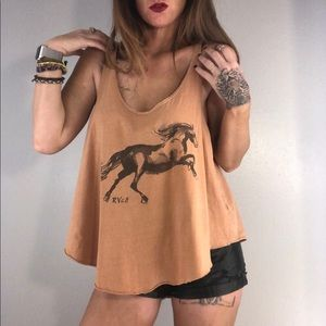RVCA Oversized Cropped Tan Horse Tank Large